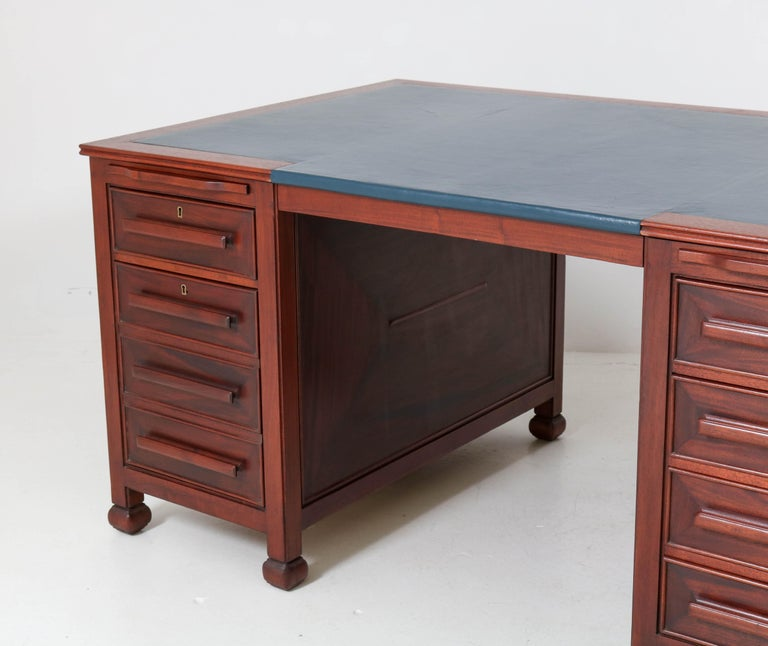 Sale The Deco Haus Tagged Blue: Mahogany Art Deco Amsterdam School Partners Desk By K.P.C