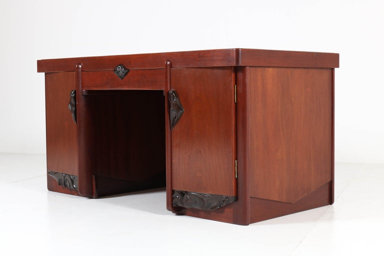 Magnificent and extremely rare Art Deco Amsterdam School pedestal desk.