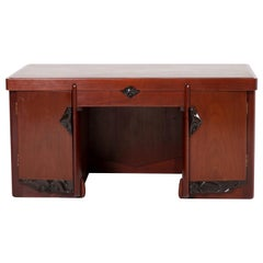 Mahogany Art Deco Amsterdam School Pedestal Desk by Willem Raedecker, 1920