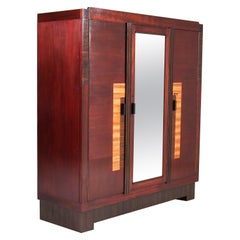 Mahogany Art Deco Haagse School Armoir or Wardrobe by 't Woonhuys, Amsterdam