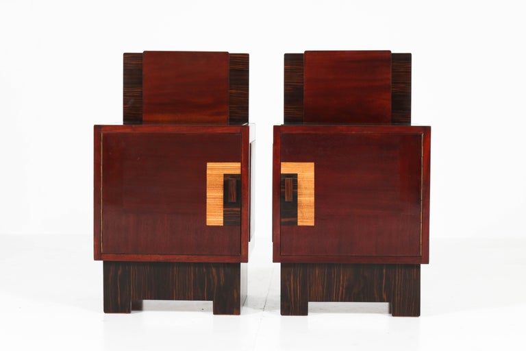 Dutch Mahogany Art Deco Haagse School Nightstands by 't Woonhuys, Amsterdam For Sale