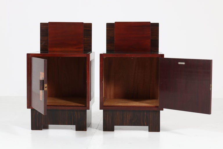 Mahogany Art Deco Haagse School Nightstands by 't Woonhuys, Amsterdam In Good Condition For Sale In Amsterdam, NL