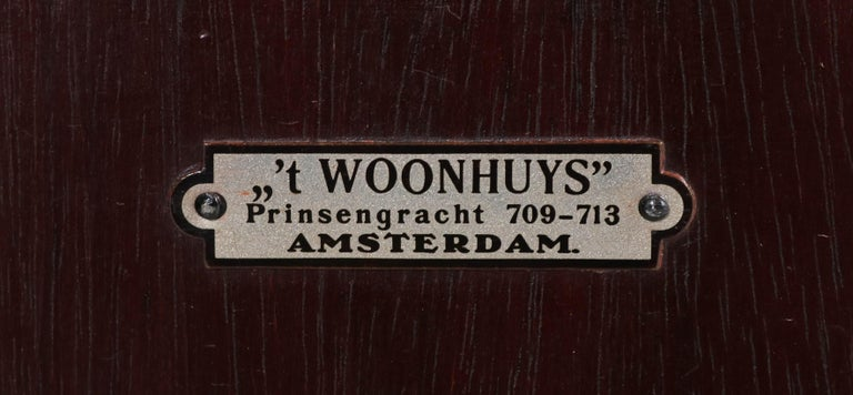 Early 20th Century Mahogany Art Deco Haagse School Nightstands by 't Woonhuys, Amsterdam For Sale