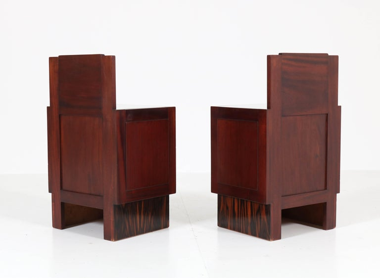 Glass Mahogany Art Deco Haagse School Nightstands by 't Woonhuys, Amsterdam For Sale
