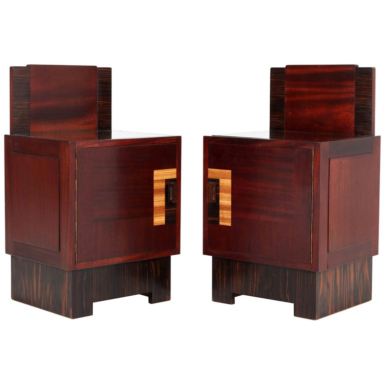 Mahogany Art Deco Haagse School Nightstands by 't Woonhuys, Amsterdam For Sale