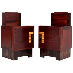 Mahogany Art Deco Haagse School Nightstands by 't Woonhuys, Amsterdam