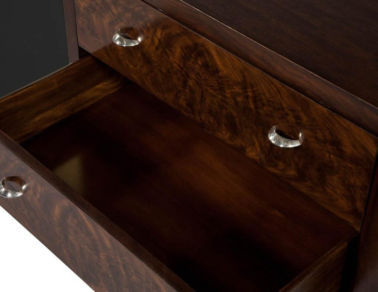 Stainless Steel Mahogany Art Deco Inspired Cabinet Buffet For Sale