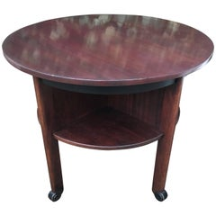 Mahogany Art Deco Round Coffee or End Table with Four Shelfs for Books Etc