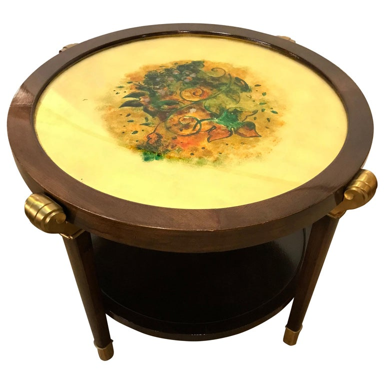 Mahogany Art Nouveau Reverse Painted Glass Top Centre, End or Coffee Table For Sale