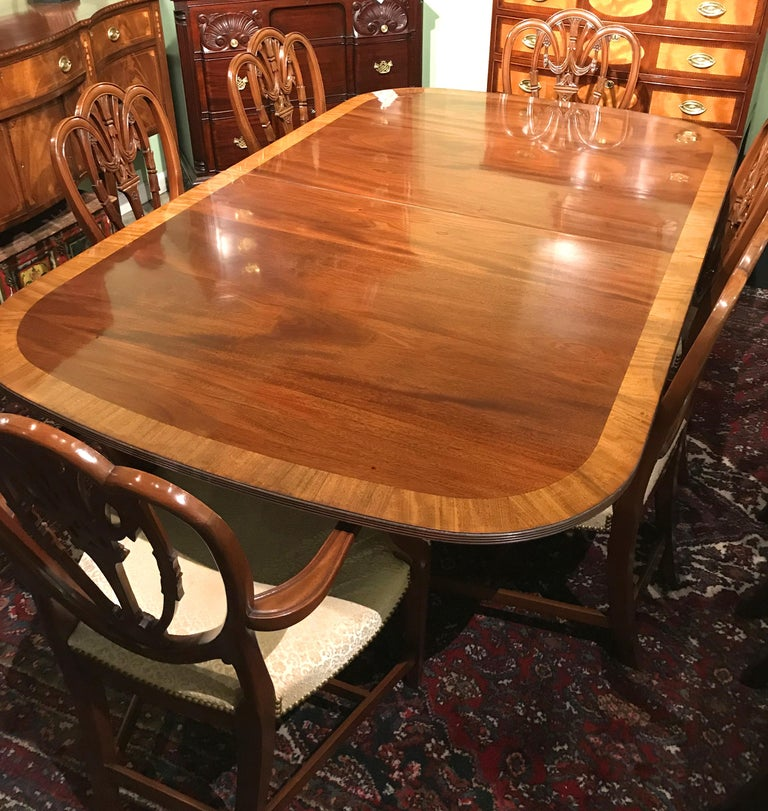 Mahogany Banded Double Pedestal Dining Table by Kaplan for Beacon Hill 3