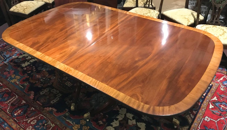 Hand-Carved Mahogany Banded Double Pedestal Dining Table by Kaplan for Beacon Hill
