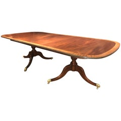 Mahogany Banded Double Pedestal Dining Table by Kaplan for Beacon Hill