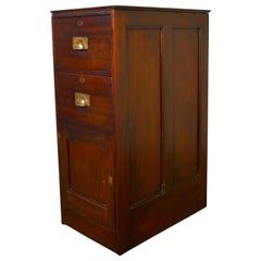 Mahogany Banker's Drawers and Safe Cupboard Pedestal, Strong Cupboard