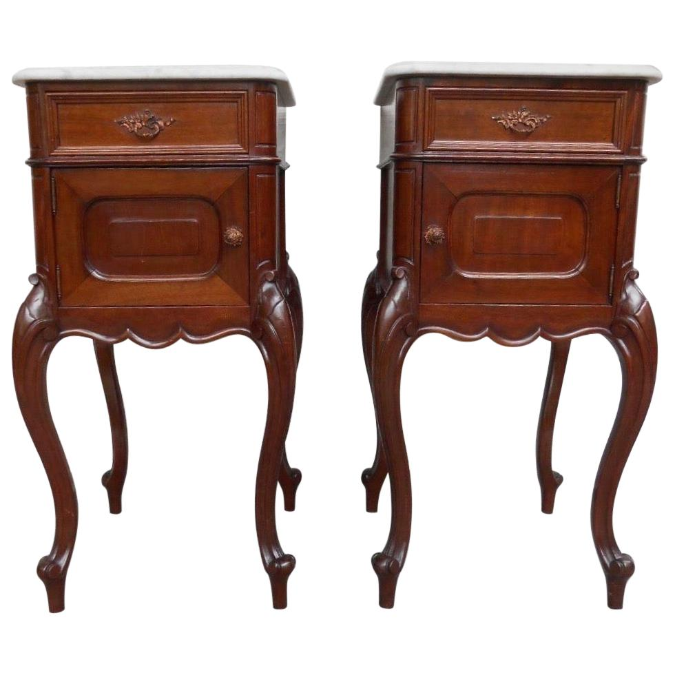 Wonderful Mahogany Bedside Cabinets / Night Stands with Snow White Marble Tops