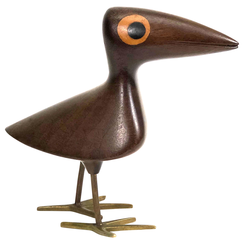 Mahogany Bird with Bronze Inlay by Karl Hagenauer for Werkstätte Hagenauer Wien
