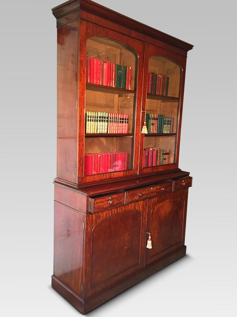 Hand-Crafted Mahogany Bookcase, Large, English, circa 1840 For Sale