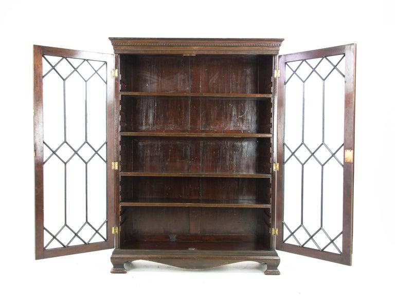 Mahogany bookcase, antique display cabinet, astragal glass, Scotland, 1890,  antique furniture - Mahogany Bookcase, Antique Display Cabinet, Astragal Glass, Scotland