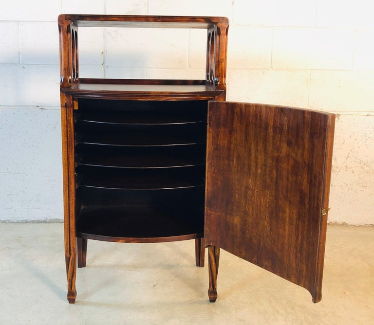 Mahogany Bow Front Storage Cabinet In Good Condition For Sale In Amherst, NH