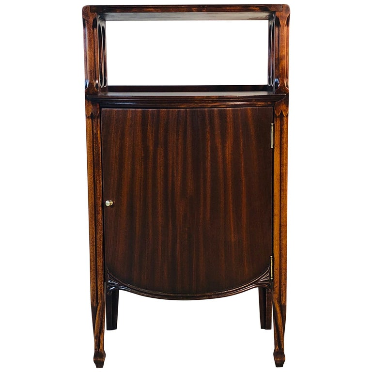 Mahogany Bow Front Storage Cabinet For Sale