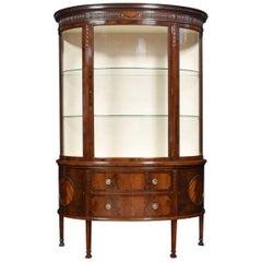 Mahogany Bow Fronted Display Cabinet