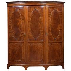 Mahogany Bow Fronted Three-Door Compactum Wardrobe