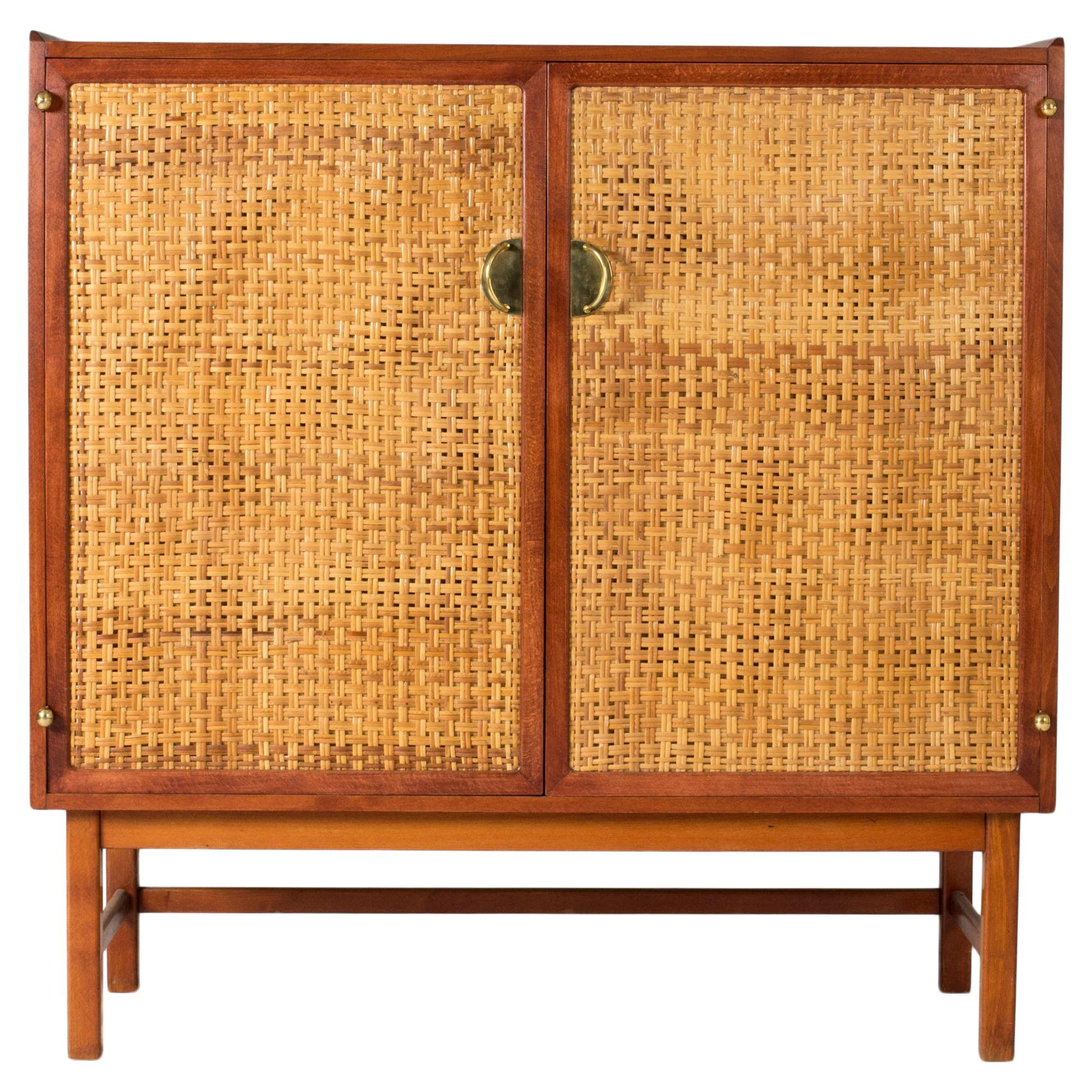 Mahogany, Brass and Rattan Cabinet from Westbergs Möbler, Sweden, 1950s