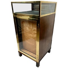 Brass Bound Antique Mahogany Display Cabinet with 7 Drawers and 3 Glass Shelves