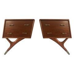 Mahogany and Brass Nightstands with Exceptional Leg by Eugenio Escudero