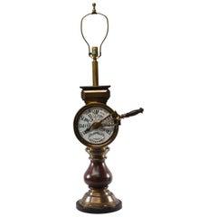 Mahogany and Brass Ships Telegraph Mounted Table Lamp