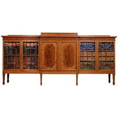 Mahogany Breakfront Inlaid Glazed Bookcase