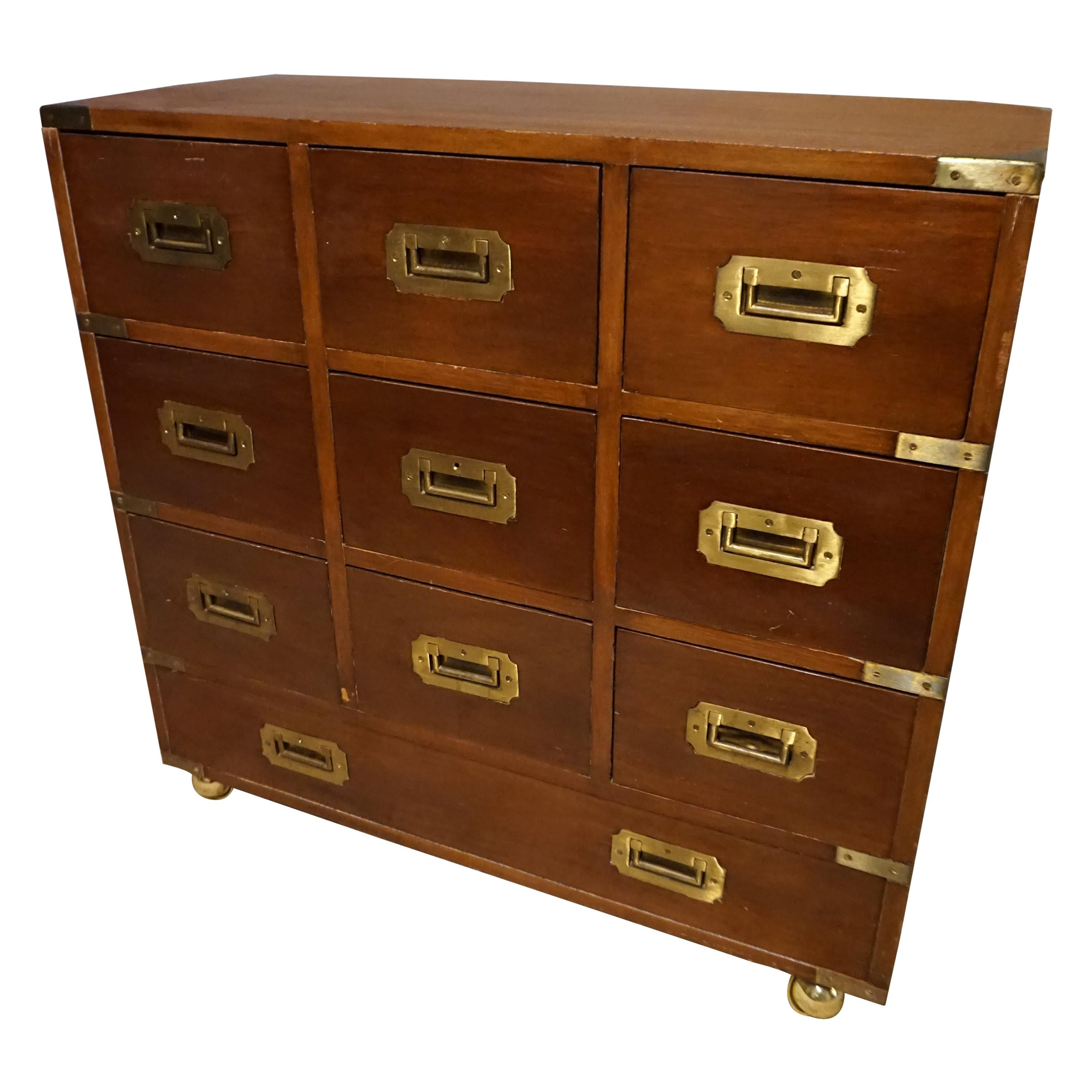 Mahogany British Campaign Chest with Brass Hardware and Multiple Drawers