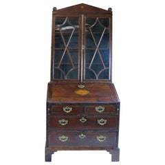 Mahogany Bureau, Bookcase, Crystal Cabinet, English, Georgian