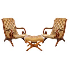 Mahogany Campaign Style Lounge Chairs & Ottoman