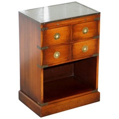 Mahogany Campaign Style Side Table Drawers Green Leather Butlers Serving Tray