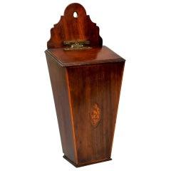 Mahogany Candle Box with a Satinwood Shell Inlay, circa 1790