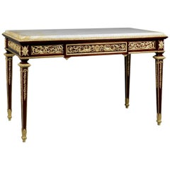 Mahogany Centre Table with an Onyx Marble-Top by François Linke, French
