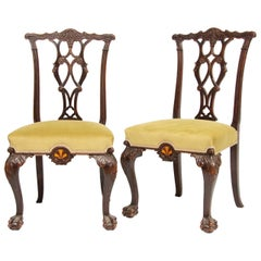 Mahogany Chairs with Specimen Wood Inlay, circa 1860