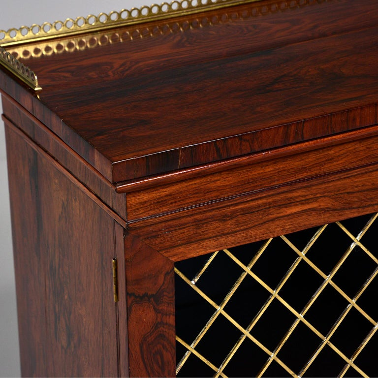 Mahogany Chiffonier With Brass Lattice Door Fronts For Sale 9