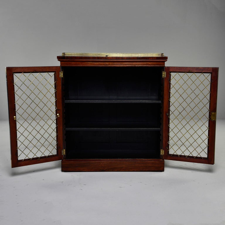 19th Century Mahogany Chiffonier With Brass Lattice Door Fronts For Sale