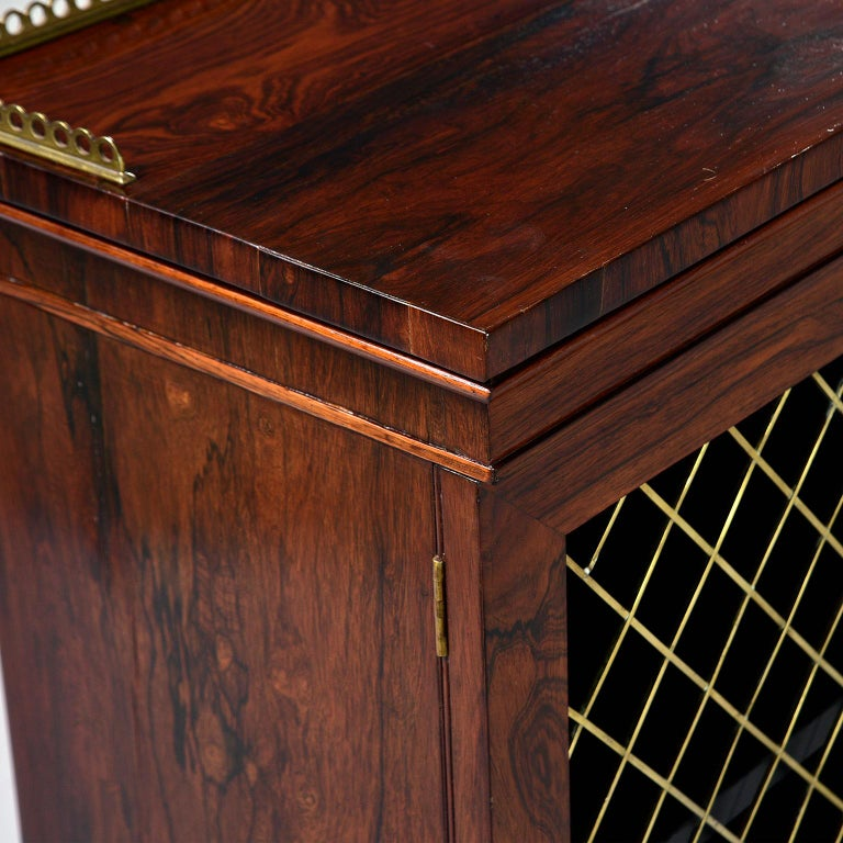 Mahogany Chiffonier With Brass Lattice Door Fronts For Sale 2