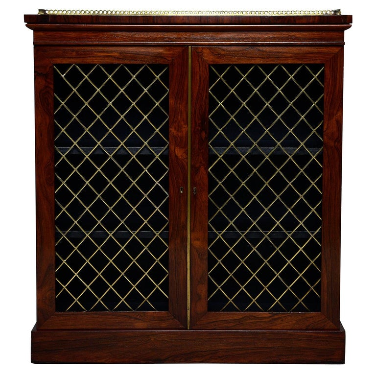 Mahogany Chiffonier With Brass Lattice Door Fronts For Sale