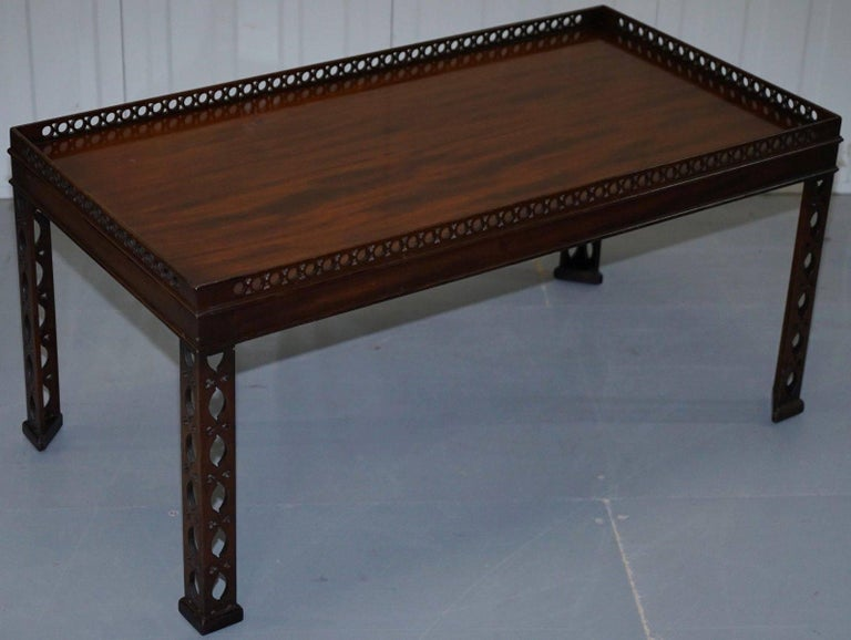 British Mahogany Chinese Chippendale Style Silver Tea of Coffee Table Fret Work Carved For Sale