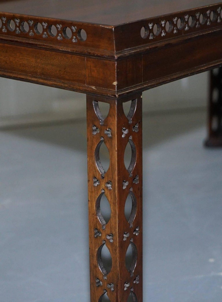 Mahogany Chinese Chippendale Style Silver Tea of Coffee Table Fret Work Carved In Excellent Condition For Sale In London, GB