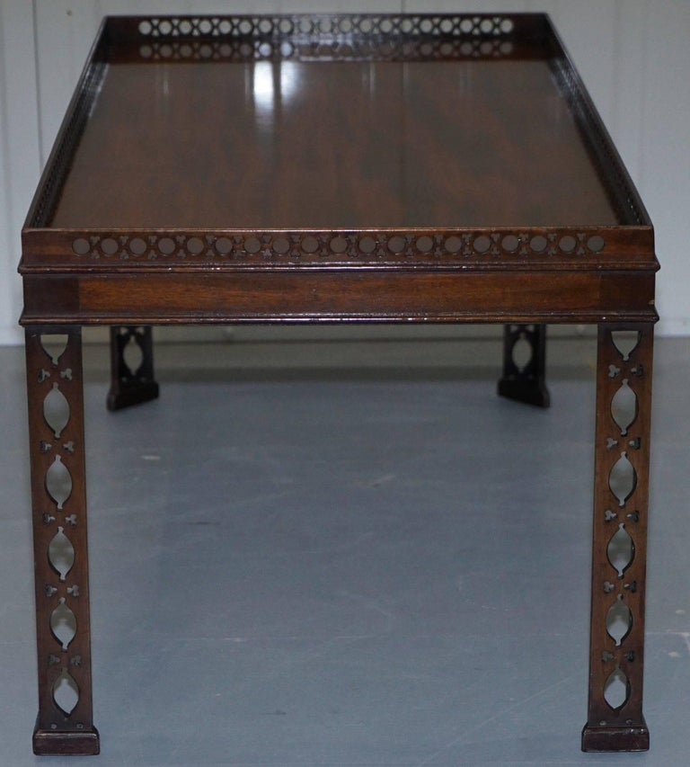 19th Century Mahogany Chinese Chippendale Style Silver Tea of Coffee Table Fret Work Carved For Sale