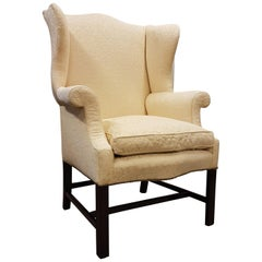 Mahogany Chippendale Revival Upholstered Wingback Armchair, circa 1900