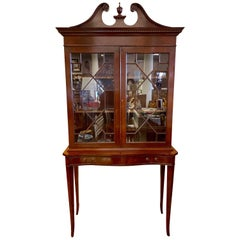 Mahogany Chippendale Style Display Case Bookcase