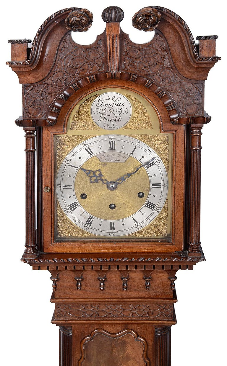 English Mahogany Chippendale Style Grandmother Clock For Sale
