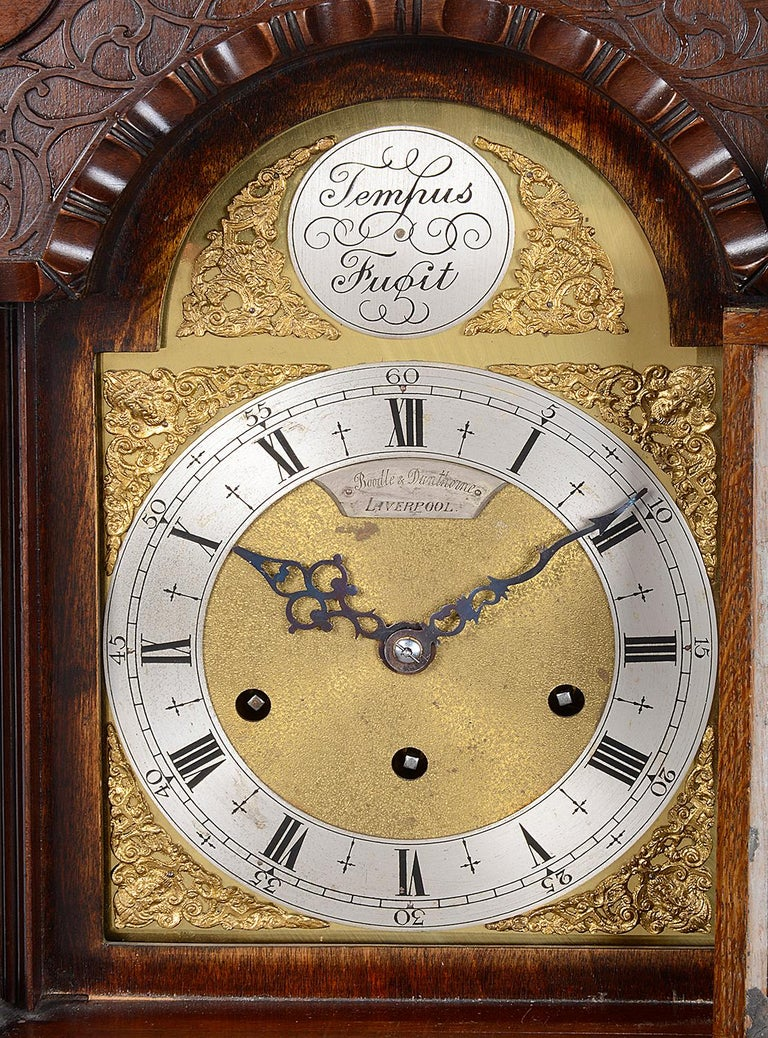 Carved Mahogany Chippendale Style Grandmother Clock For Sale