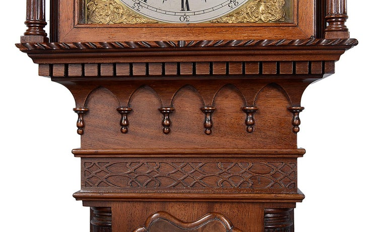 Mahogany Chippendale Style Grandmother Clock In Good Condition For Sale In Brighton, Sussex