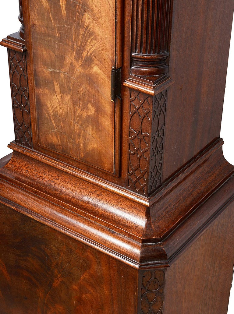 20th Century Mahogany Chippendale Style Grandmother Clock For Sale